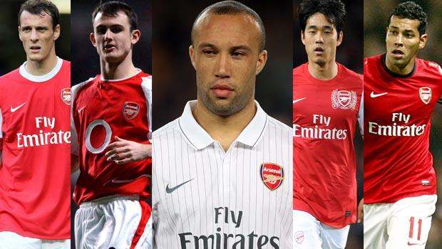 Andre Santos-Chu Young Park-Mikael Silvestre-Sebastian Squillaci-Francis Jeffers-Arsenal