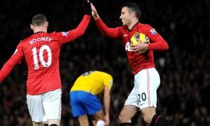 Wayne Rooney and Robin van Persie Man United