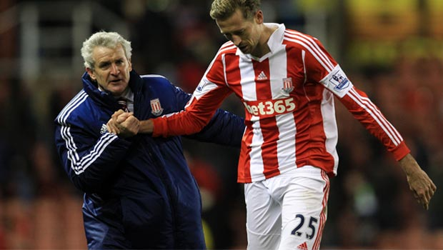 Mark Hughes and Peter Crouch - Stoke City