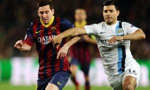 Sergio Aguero Manchester City v Barcelona Lionel Messi