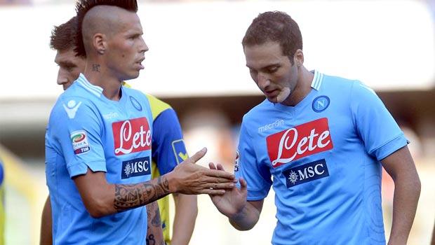 Gonzalo Higuain và Marek Hamsik Napoli Coppa Italia