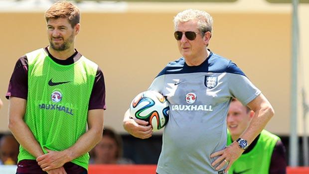England captain Steven Gerrard with Roy Hodgson