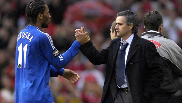 Chelsea manager Jose Mourinho and Didier Drogba