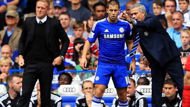 Chelsea manager Jose Mourinho and Eden Hazard