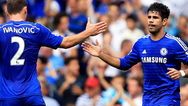Diego Costa and Branislav Ivanovic Chelsea
