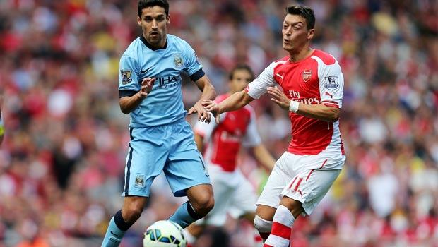 Mesut Ozil Arsenal and Jesus Navas Manchester City