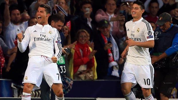 Cristiano Ronaldo và James Rodriguez Real Madrid